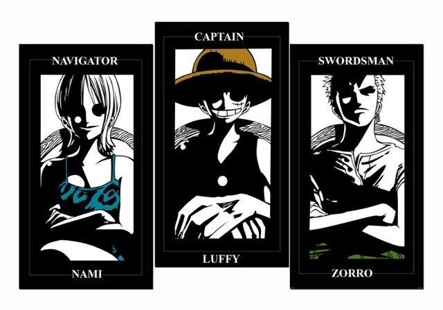 3Panels HD Art Canvas Printings Wall Poster One Piece Navigator Nami Captain Luffy Swordsman Zorro Anime