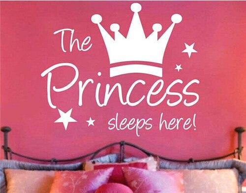 The Princess Sleeps Here Wall Decals Vinyl Baby Girls Bedroom Wall Stickers Queen Crown Room Wallpaper Home Decor