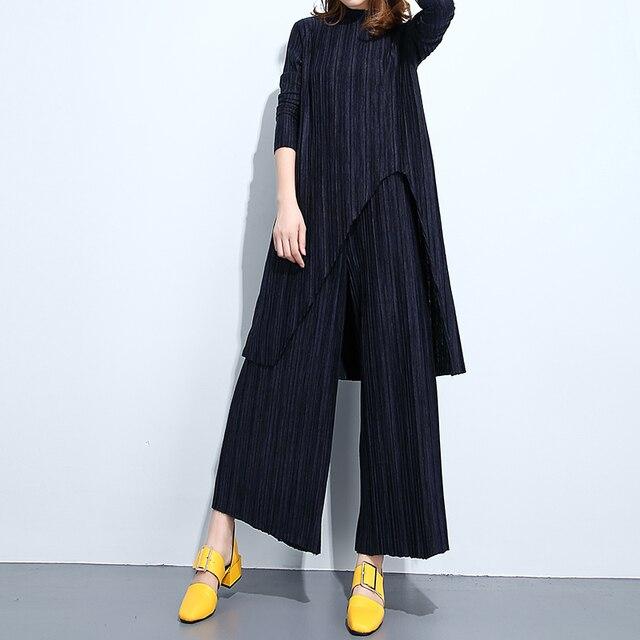 [XITAO] 2016 Корея издание осень женщины нерегулярные вязание платье и упругие талии широкие ноги брюки свободные женщина наборы ATT005