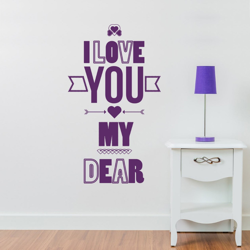 Eyes wall stickers wow modern beauty salon valentine wall decoration - Quote Wall Decals I Love You Decal Valentines Day Design Bedroom Home Decor Vinyl Wall Stickers