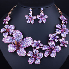 FARLENA Wedding Jewelry 2017 Trend Color Crystal Flower Necklace Earrings set for Bridal Fashion Rhinestones Jewelry
