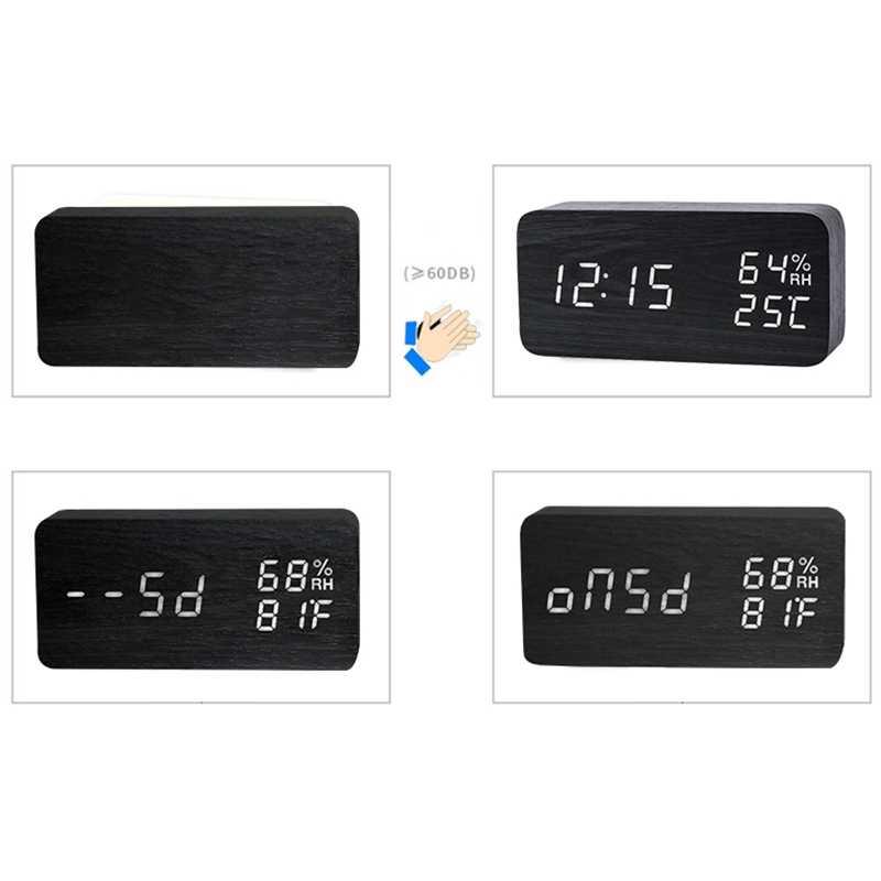 Современный светодиодный Будильник Температура Влажность электронные настольные цифровые настольные часы, черный + белый