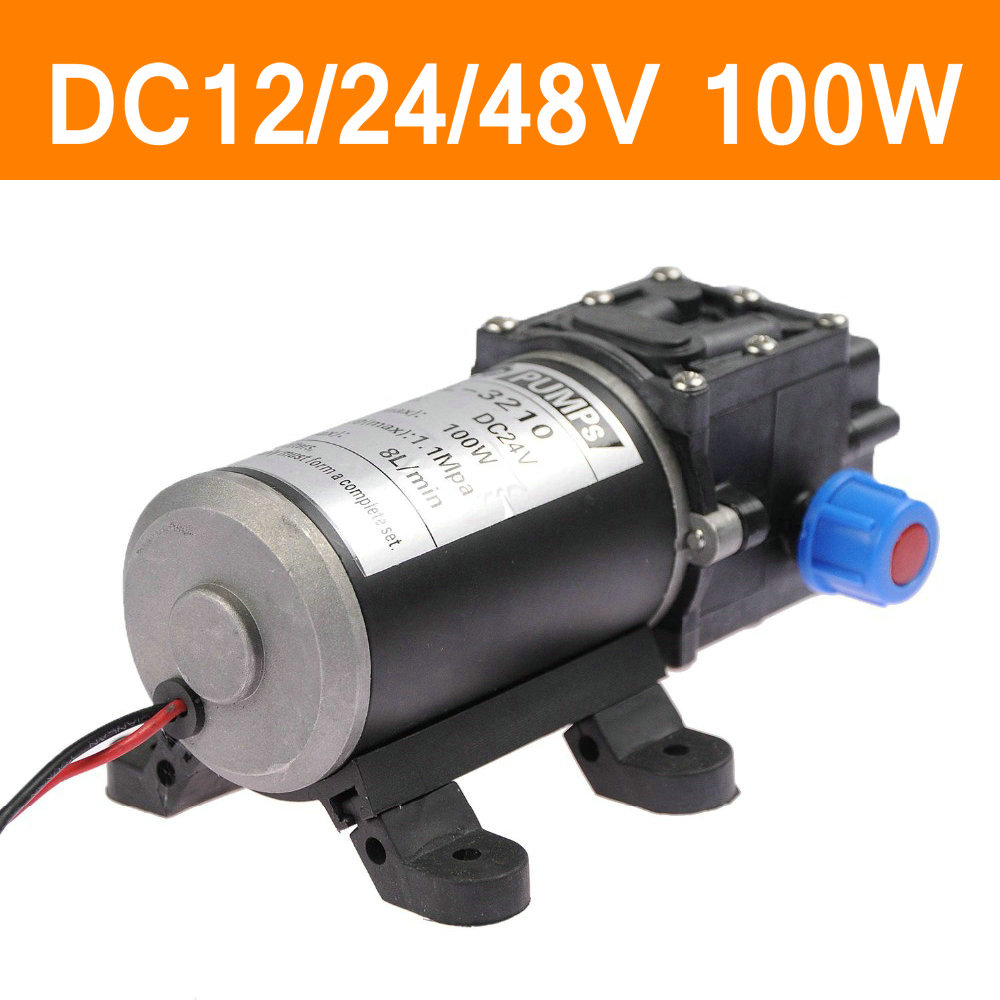 Mini Electric Water Pump DC12V 24V 48V 100W High Pressure Micro Diaphragm Water Pump Automatic Switch 8L/min Heavy Duty 1 7 l min electric diaphragm mini dc 12v brushless water pump
