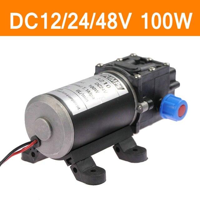 Mini Electric Water Pump Dc12v 24v 48v 100w High Pressure Micro Diaphragm Automatic Switch 8l Min Heavy Duty