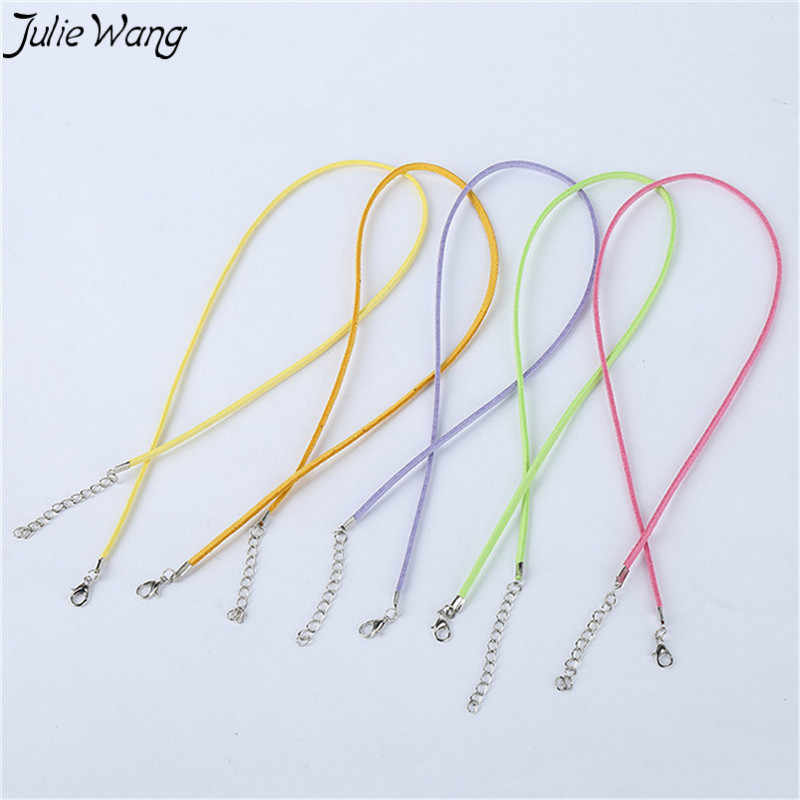 Julie wang 10 unidades/pacote preto misturado colorido cabo com estender link corrente lagosta fechos link diy jóias colar descobertas 45 + 5cm