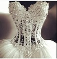 Glamorous Sparkle Beading Crystal Top Bodice Sheer Pearls Puffy Wedding Bridal Dresses