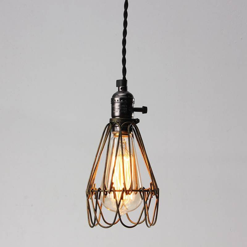 Retro vintage industrial pendant light bulb guard wire cage hanging retro vintage industrial pendant light bulb guard wire cage hanging ceiling light fitting bars cafe lamp shade lamp cover in lamp covers shades from aloadofball Gallery