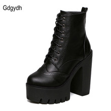 Gdgydh Hot Sale Black Square Heels Platform Boots Ankle Boots Female Lace Up Women Shoes Fashion 2017 Spring Autumn New Brand