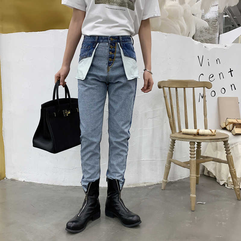 Мужские ретро с высокой талией повседневные джинсовые брюки мужские модные уличные хип хоп обратная одежда шаровары брюки джинсы для мужчин