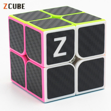 Newest 2x2x2 Zcube Carbon Fiber Sticker Magic Cube Puzzle Cubes Speed Cubo Square Gifts Educational Toys for Children