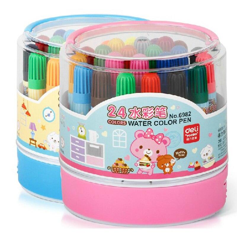 Watercolor pen 24 color bucket cute brush watercolor pen children painting graffiti watercolor pen deli 6982 watercolor twist swimsuit