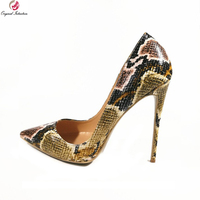 Original Intention Super Stylish Women Pumps Sexy Pointed Toe Thin High Heels Pumps Brown Green Shoes