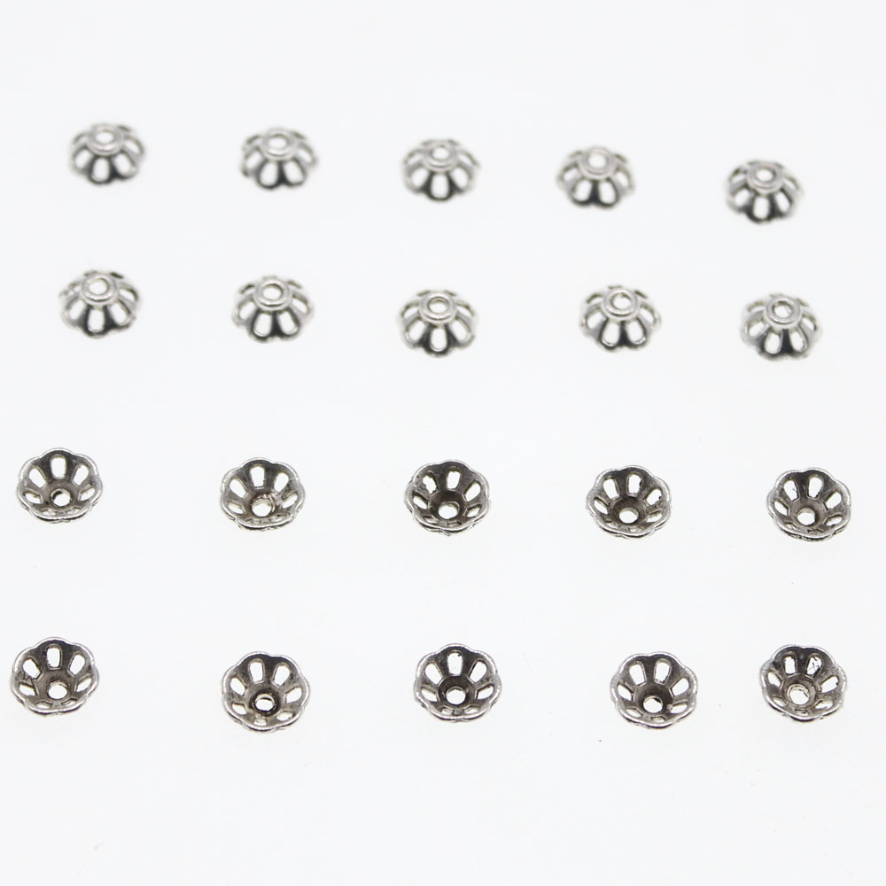 50pcs Silver Plated Metal Crown Shape Bead Caps End 6x5mm DIY Jewelry Findings