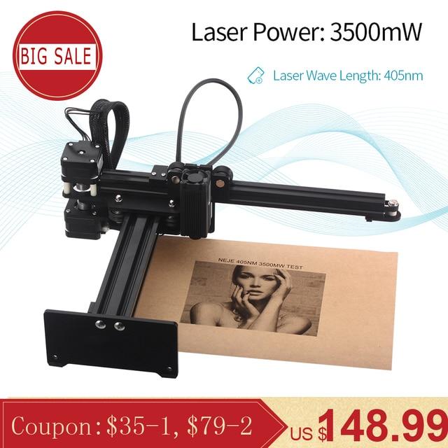 NEJE Master 3500mw 405nm Desktop CNC Laser Engraver Portable DIY Engraving Carving Machine Laser Cutting Engraving Machine