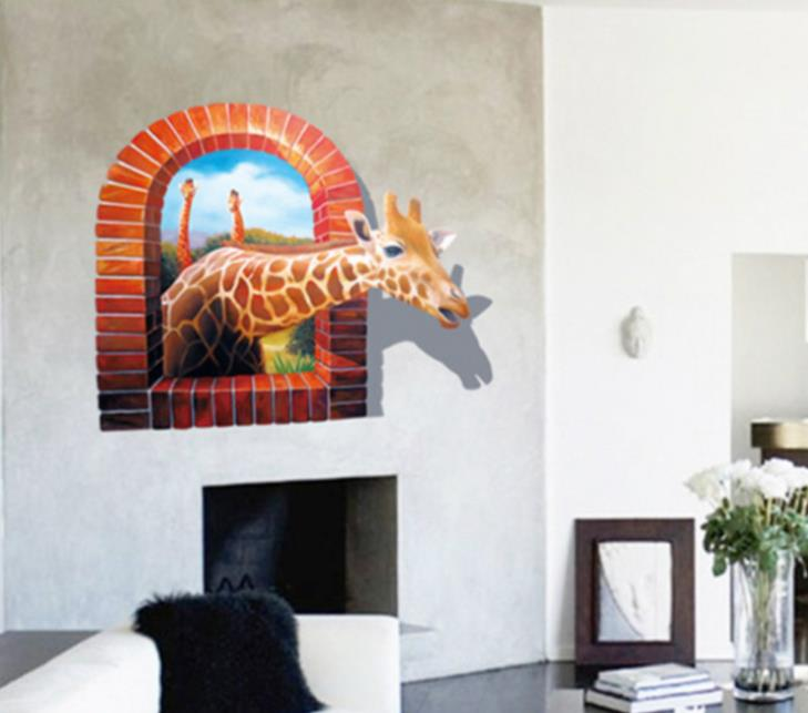 Realistic Scenes Window Giraffe 3D Wall Stickers Cartoon Wallpaper Decals For Sitting Room Cute Decal Kids In From Home