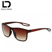 DOLCE VISION Brown Square Style Sunglasses Men Gradient Lens UV400 Male Sun Glasses For Men Shades