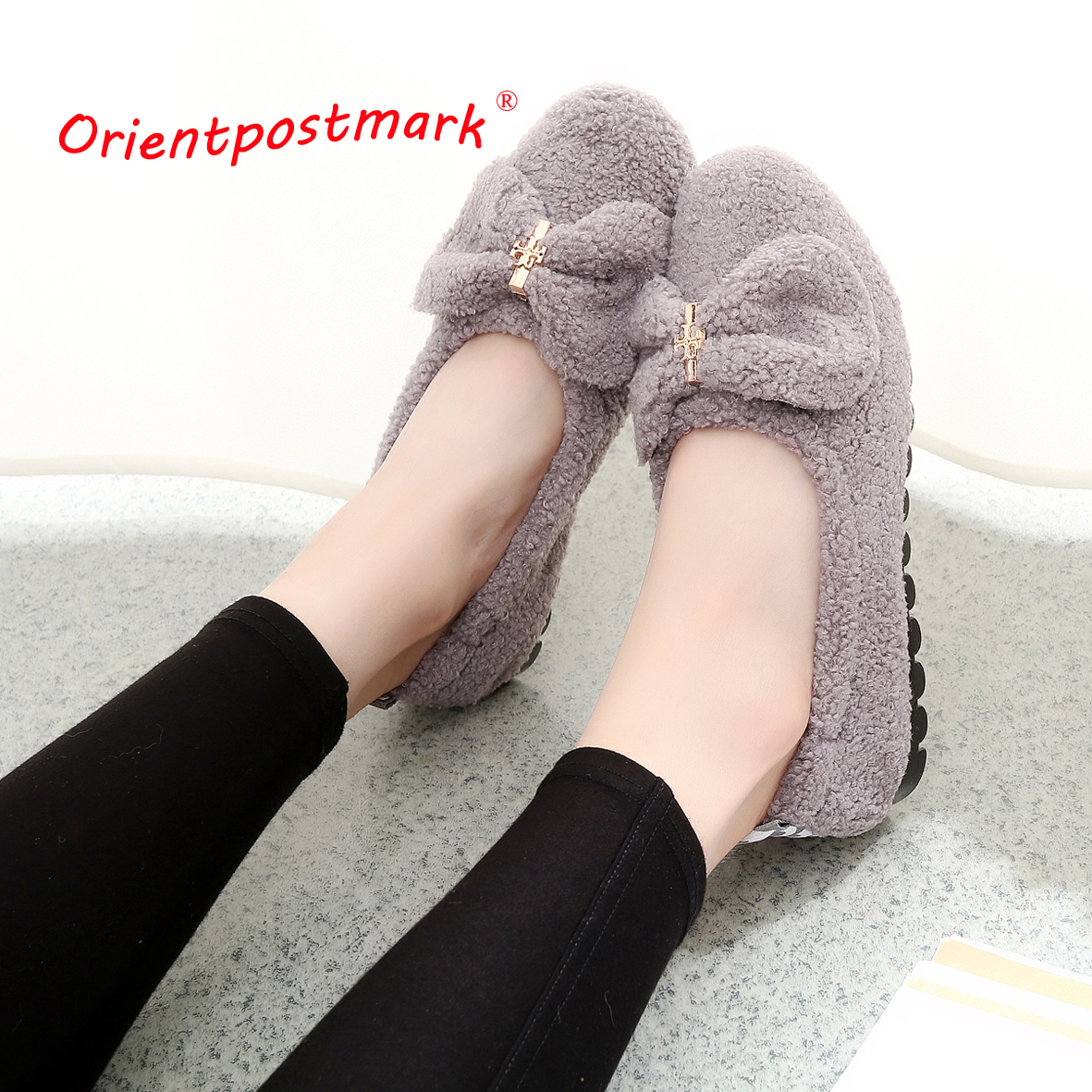 Orientpostmark Women Shoes Ballet Flats Adult Coral Velvet Shoes Women Soft Bottom Soft Surface Women's Pregnant Flat Shoes Boat цена 2017