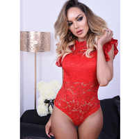 Sexy Lace Perspective Body Sleeveless Summer Short Jumpsuit 2019 Red White Bodysuit Women Body Femme Club Lace Bodysuit