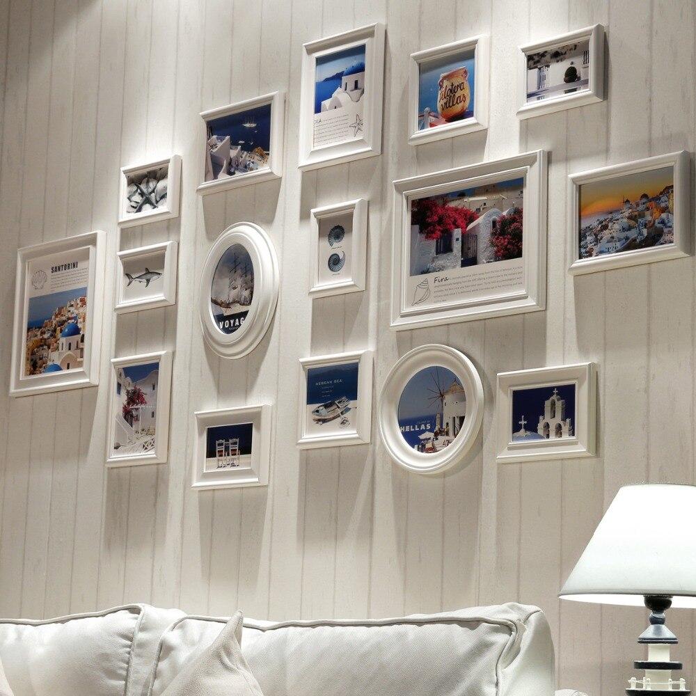 Blanco 16 piezas marco de madera, marco de la foto del Collage pared ...