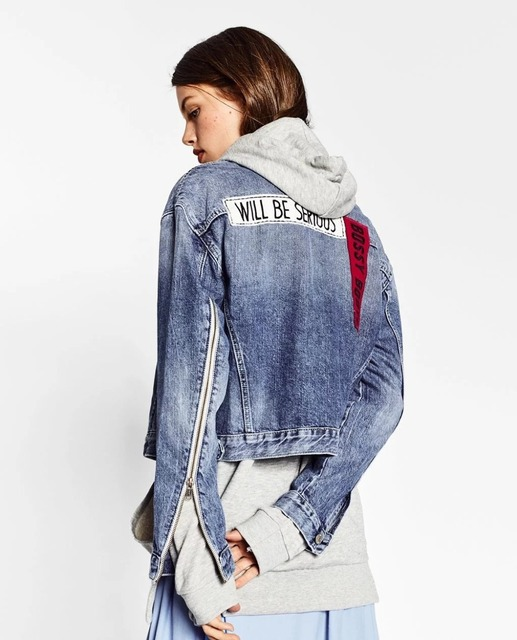 fd69dbdd8a0 2017 ZA Denim Jacket Women Letter NO IDEA Applique Embroidered Denim Jacket  For women Top Clothing F9022