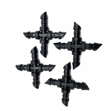 50 pcs Four-way Connector Type Cross Straight For 1/4'' Hose Barbed Connector Threaded Garden Greenhouse Micro Pipe Accessories