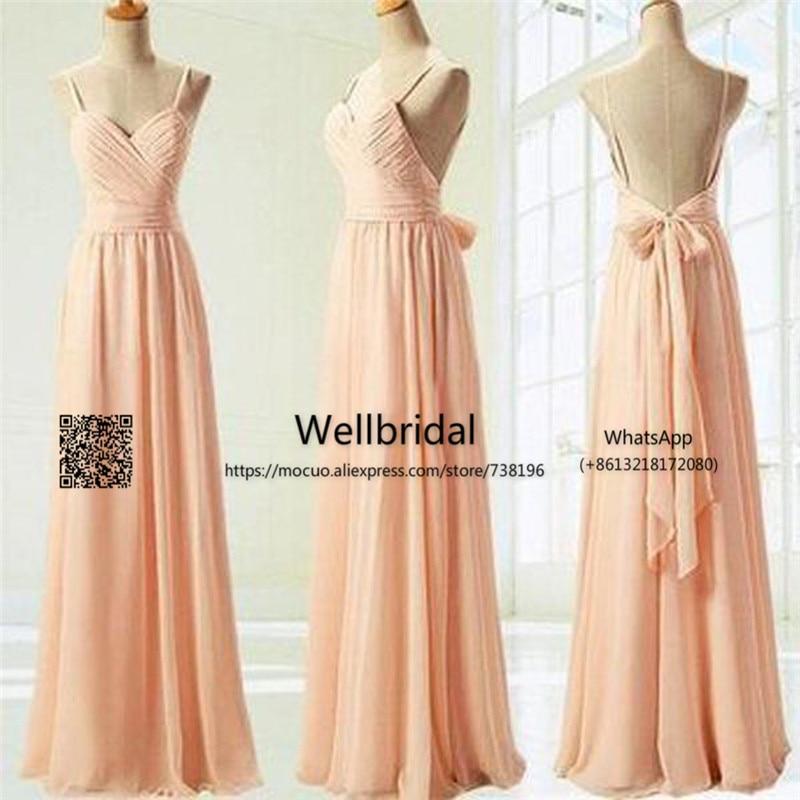2017 robes de demoiselle d'honneur Junior populaires plis dos nu rubans en mousseline de soie robe de mariée peu coûteuse robe de demoiselle d'honneur formelle