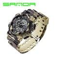 SANDA Watch Men Brand Luxury Fashion Camouflage Sports Watch Analog Quartz With Led Digital Dual Display Men Military WristWatch