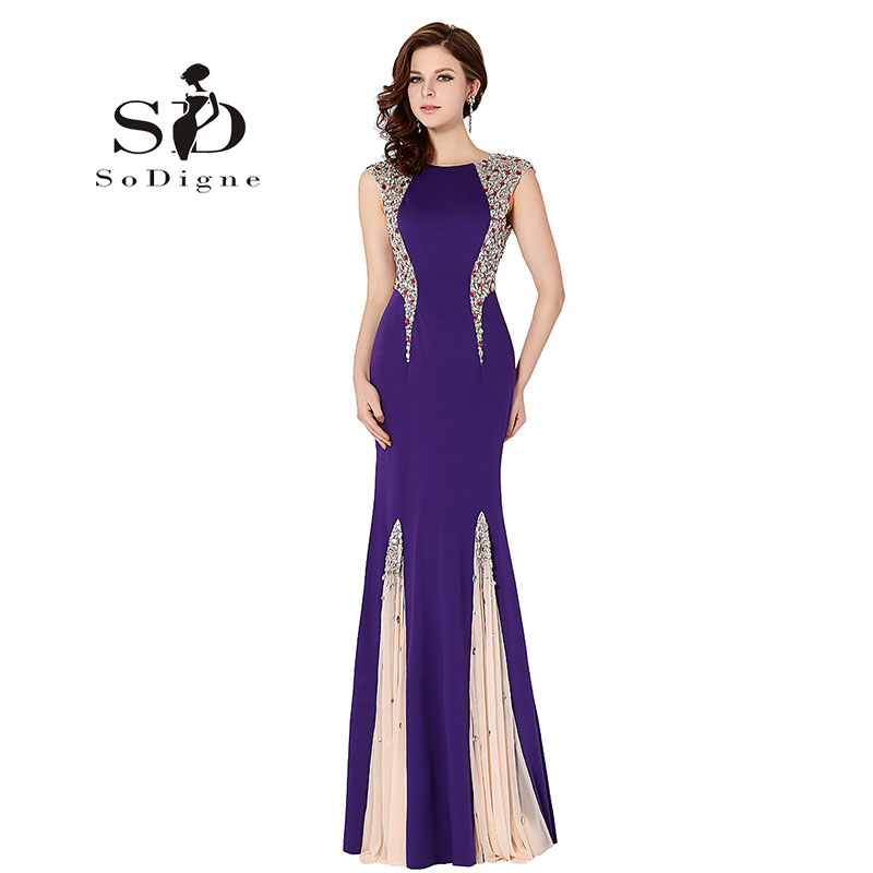 Evening Dress 2018 SoDigne Crystal Rhinestone Scoop Cap Sleeve Vestido De Festa Longo Elegant Long Prom