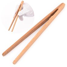 1PC 18cm Tea Clips Bamboo Tweezers Wood Color Chinese Kongfu Kitchen Tweezer Tongs Food Clip