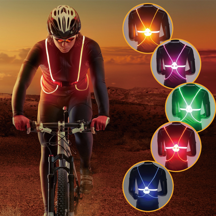 2017 Night Riding Color Reflective Vest Led Cycling Back Bike Light Night Safety Taillight Bicycle Parts Cycling