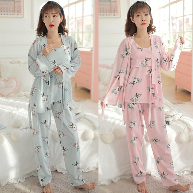 Cartoon Printed Cotton Maternity Pajama Set