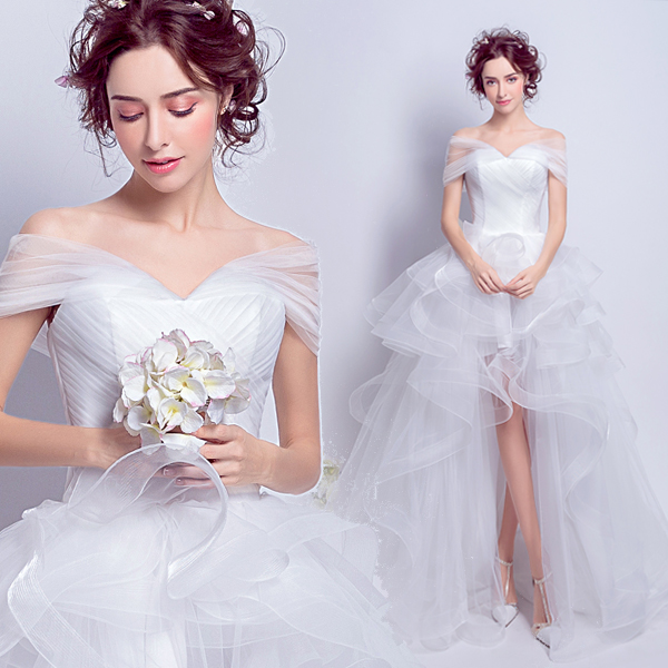 2017 New Style Popin Fashion Front Short and Long Back Off the Shoulder Trailing Wedding Dress