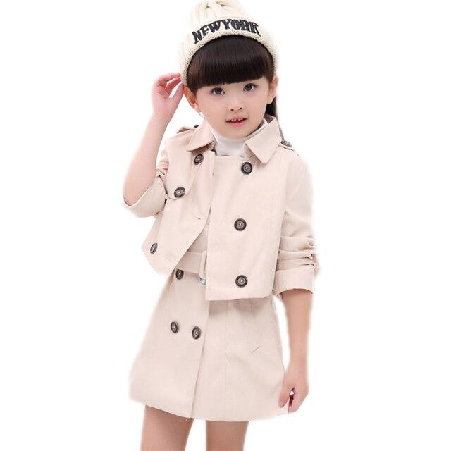 Девушка одежды осень с длинным рукавом детская одежда устанавливает топ двойной брестед turn down воротник девушка траншеи + твердый ремень девушки платье 2 шт.