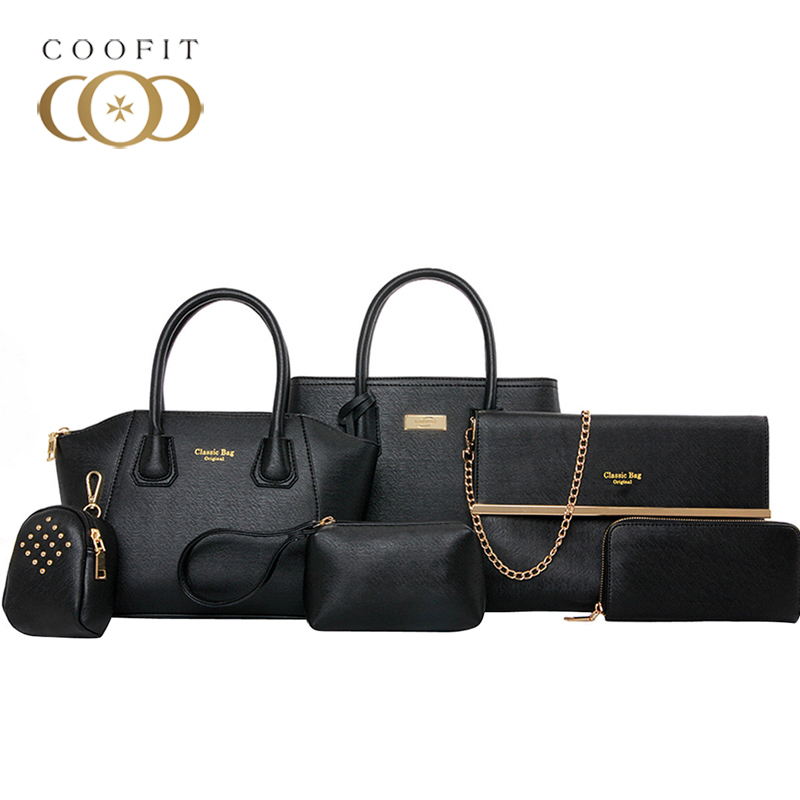 Coofit Luxury Composite Bag Set Women Chic Tote Handbag High Quality Leather Shoulder Bags Pouch Wallet Bag Set For Women Bolsas coofit luxury composite bag set women