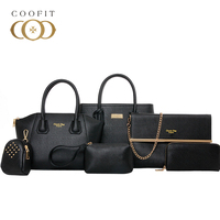 Coofit Luxury Composite Bag Set Women Chic Tote Handbag High Quality Leather Shoulder Bags Pouch Wallet Bag Set For Women Bolsas