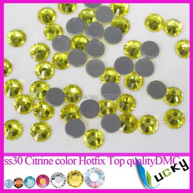 Top quality DMC strass! 288pcs SS30 Citrine color Hotfix Crystal Copy SW  Flat back rhinestones for Heat iron Freeshipping 18f6336ea0c0