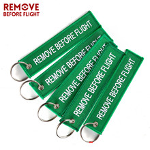 5PCS Remove Before Flight Keychain Green Embroidery Keyring Aviation Gifts Luggage Key Tag Motorcycle Car Chains Chaveiro