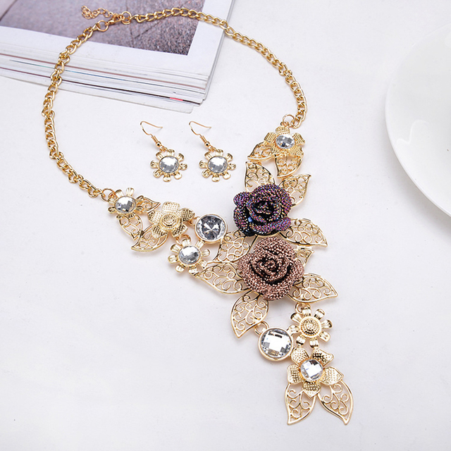 Fashion Delicate Hollow Leaf Sunflower Resin Rose Flower Necklaces Earrings Set Statement Jewelry Set For Women Wedding Party