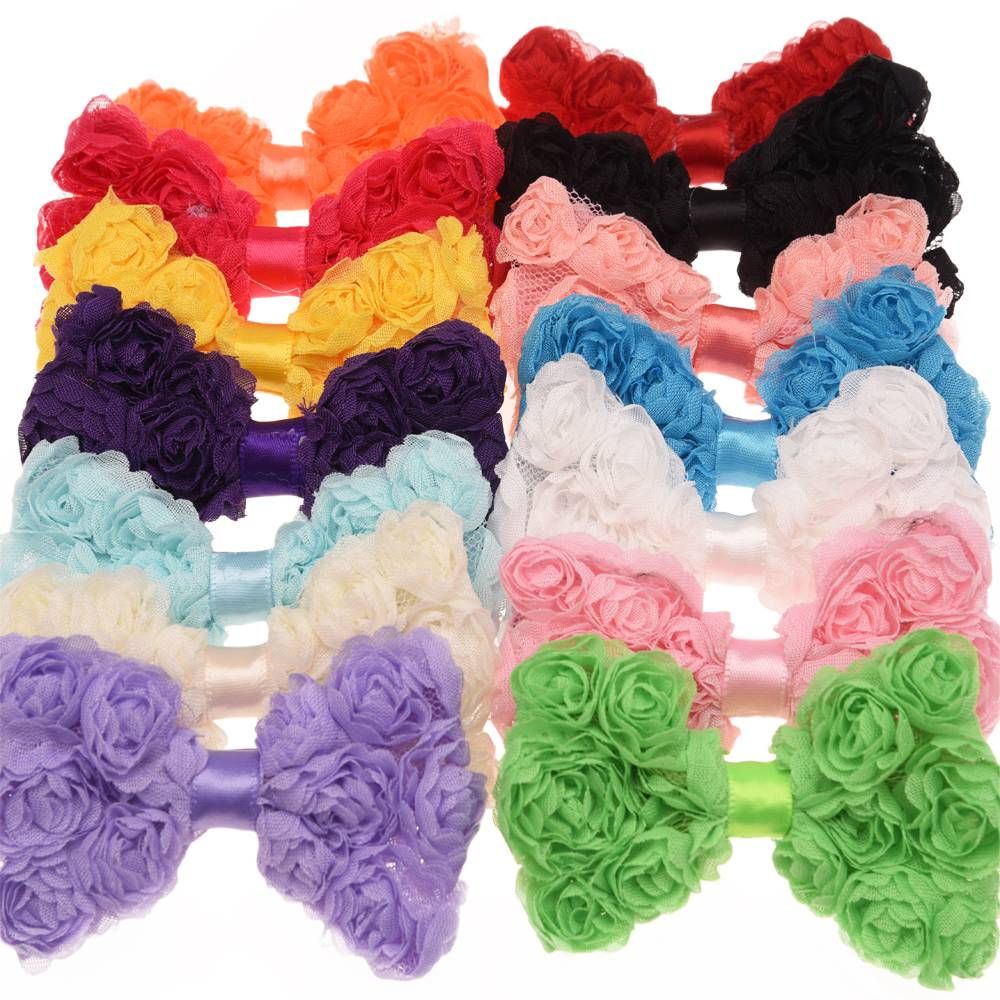 7PCS Rosette Bow Hair Accessories triplex Row Chiffon Rose  bowknot solid hair bows hair bows Flower accessory Without Clips