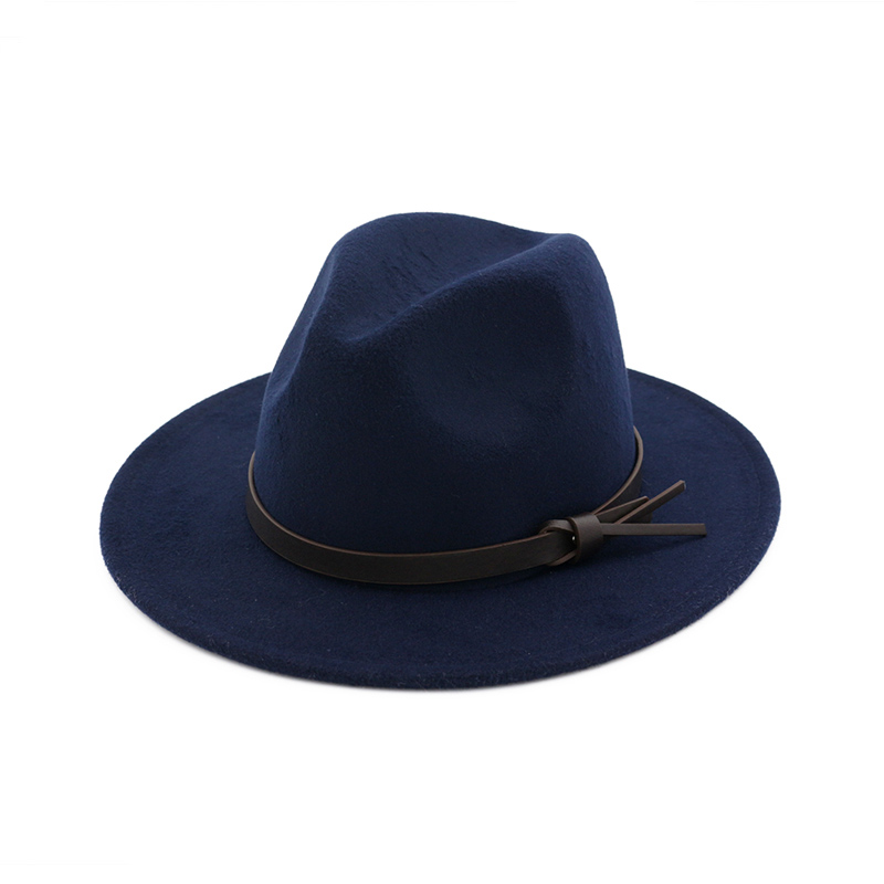 Brand Woolen Men's Black Dad Fedora Hat For Gentleman Woolen Wide Brim Jazz Church Cap Vintage Panama Sun Top Hat MNDJS001