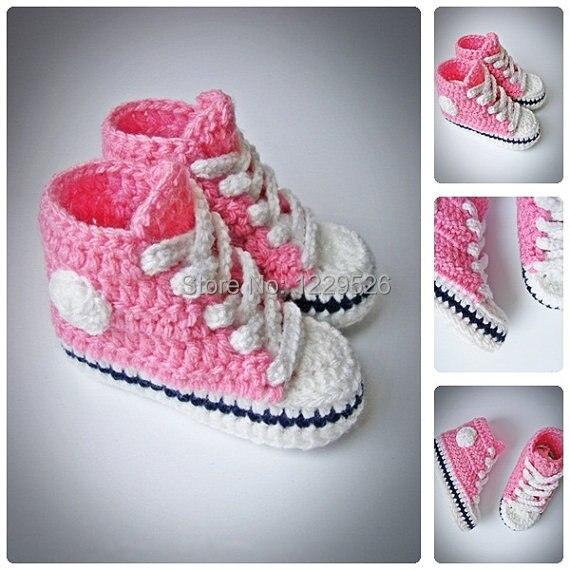 Rosa Häkel Baby Turnschuhe Neugeborenen Häkeln Schuhe