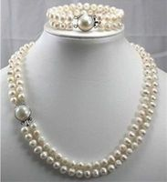 free P&P **double strands 9 mm Australian south sea white pearl necklace bracelet