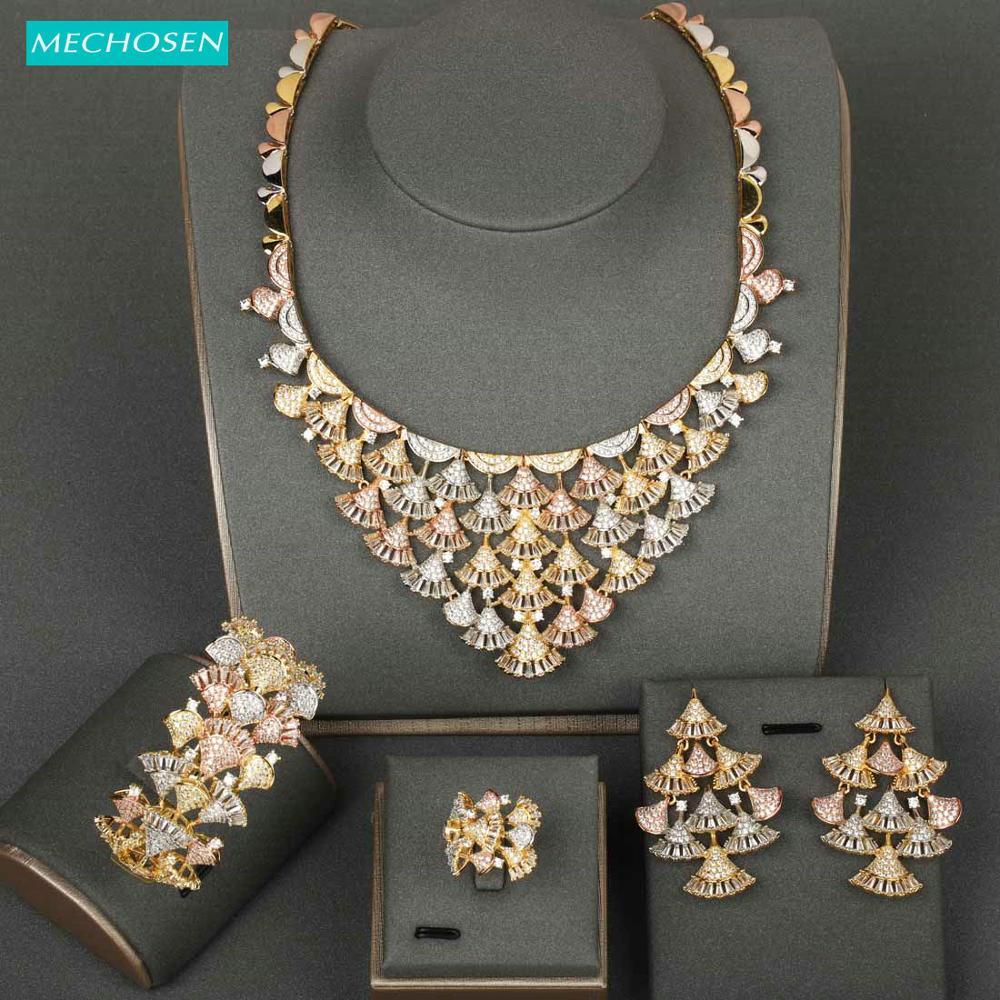 MECHOSEN Luxury Geometric Big Jewelry Sets Delicate AAA Zirconia Copper Bride's Wedding Bangle Earrings Ring Necklace Sets Gift