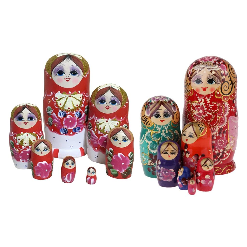 2 Set délicat en bois femmes modèle russe nidification poupée matriochka enfants cadeau d'anniversaire