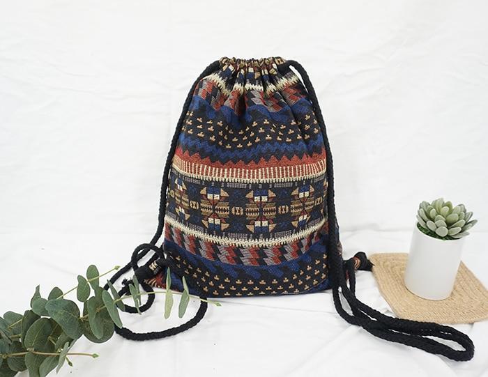 HTB1D1W7aIuYBuNkSmRyq6AA3pXah LilyHood Women Fabric Backpack Female Gypsy Bohemian Boho Chic Aztec Ibiza Tribal Ethnic Ibiza Brown Drawstring Rucksack Bags