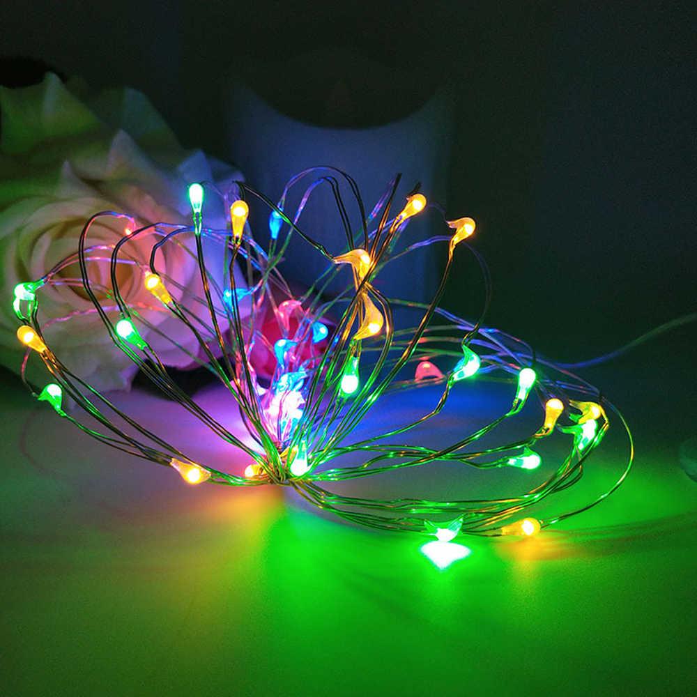 5 เมตร 50 LED แบตเตอรี่ดำเนินการ LED ทองแดงสายไฟ String สำหรับคริสต์มาส Garland งานแต่งงานตกแต่งคริสต์มาส Fairy ไฟ