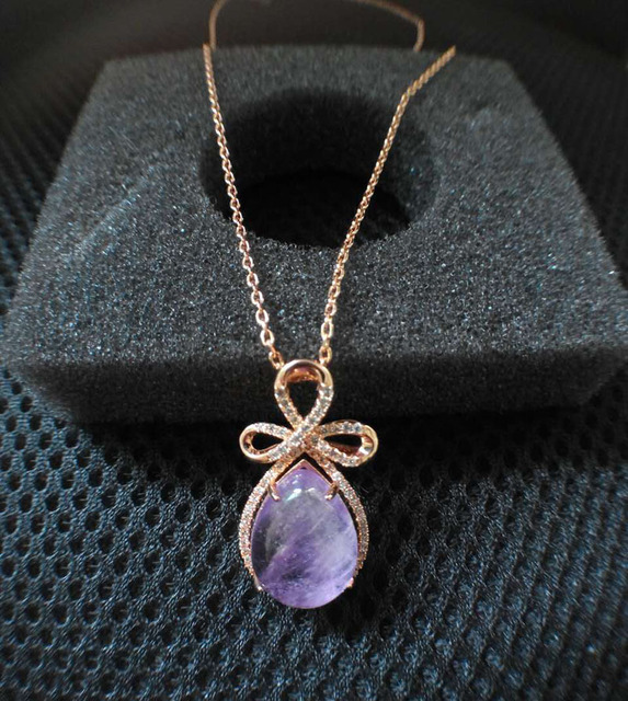 High quality fashion jewelry zircon inlaid Europe Rose Pendant Necklace Gold drop half gem dress