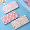 For iPhone 6 6S / Plus Soft TPU Frosted Case Bling Glitter Art Print Flower 3D Rhinestone Petals Chic Back Cover For iphone6