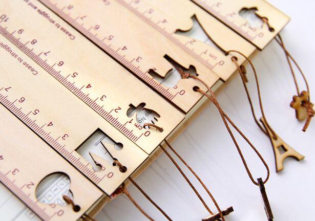 Disegno Di Ufficio : Nuovo carino segnalibri righello modello di disegno di legno cavo