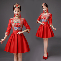 Vintage Chinese Style Mini Cheongsam Wedding Dress Retro Sexy Summer Slim Gown Marriage Qipao Party Evening Dress Vestido S XXL